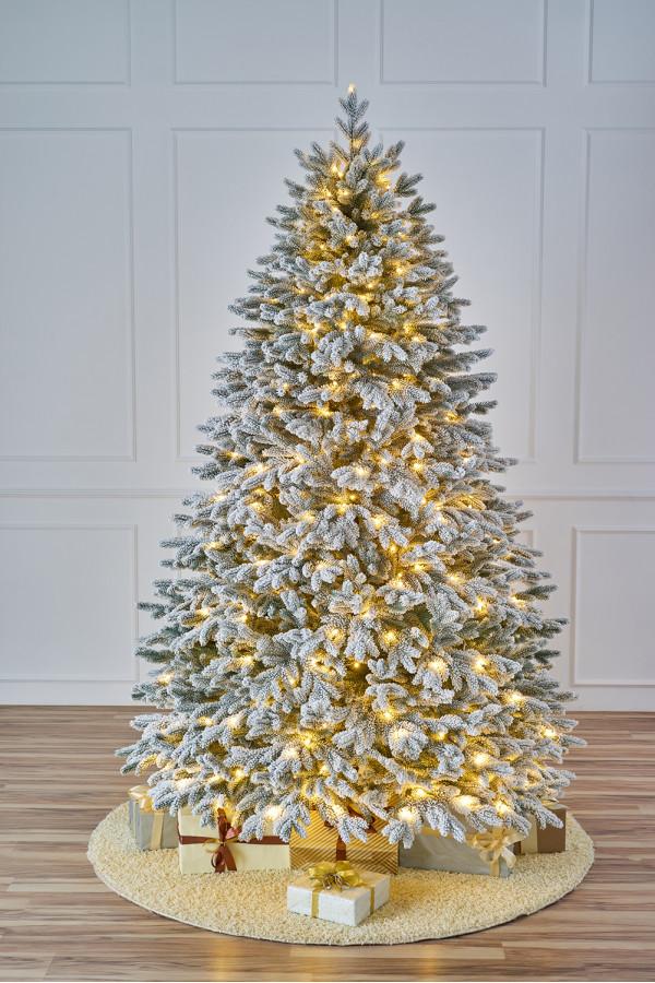 Ель искусственная литая заснеженная с лампочками Версальская 1,8 м