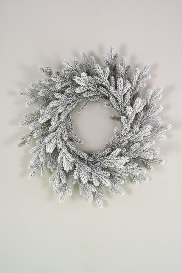 Венок рождественский литой заснеженный Версальский 70 см